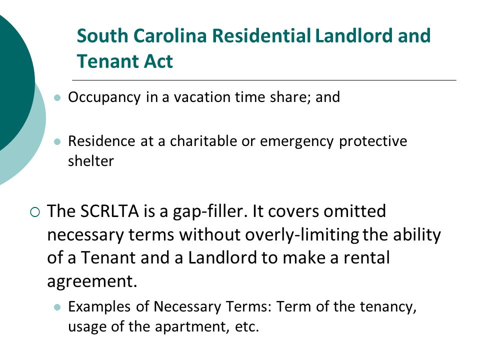 South Carolina Residential Landlord and Tenant Act