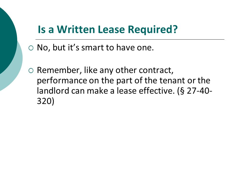 Is a Written Lease Required