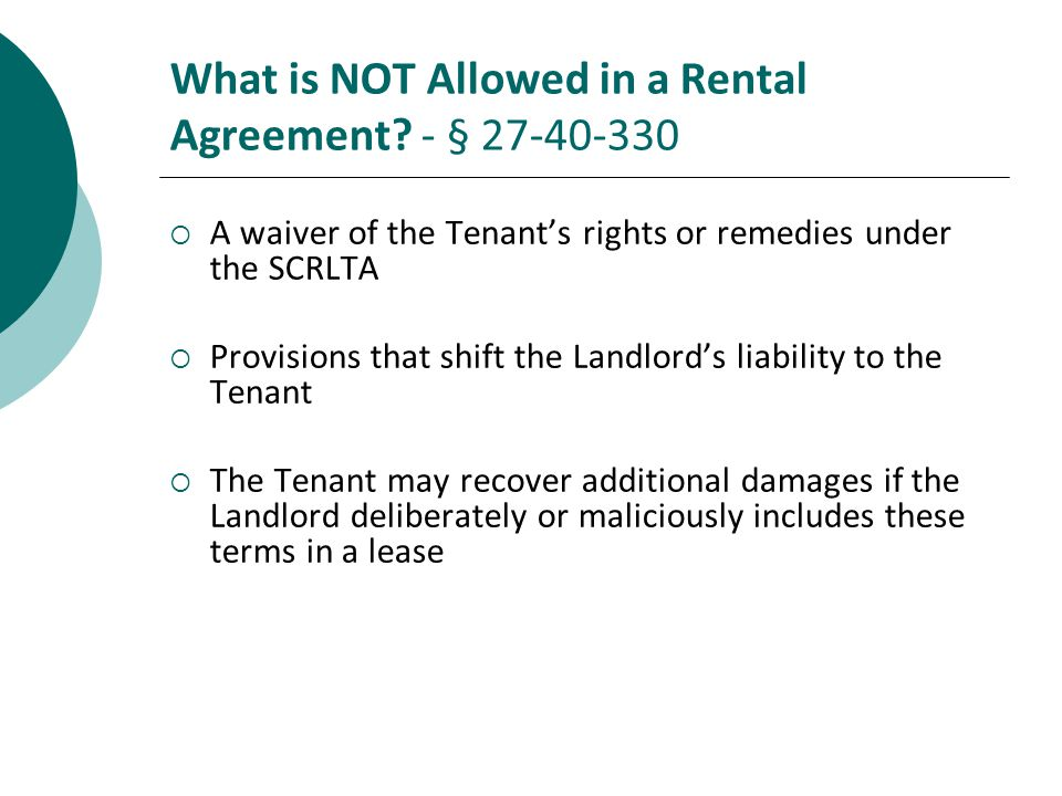What is NOT Allowed in a Rental Agreement - § 27-40-330
