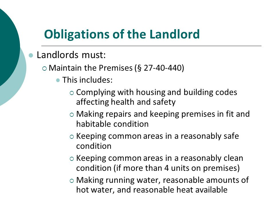 Obligations of the Landlord