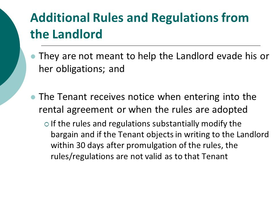 Additional Rules and Regulations from the Landlord