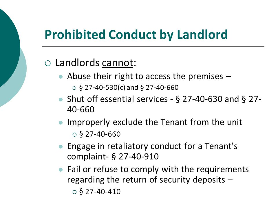 Prohibited Conduct by Landlord
