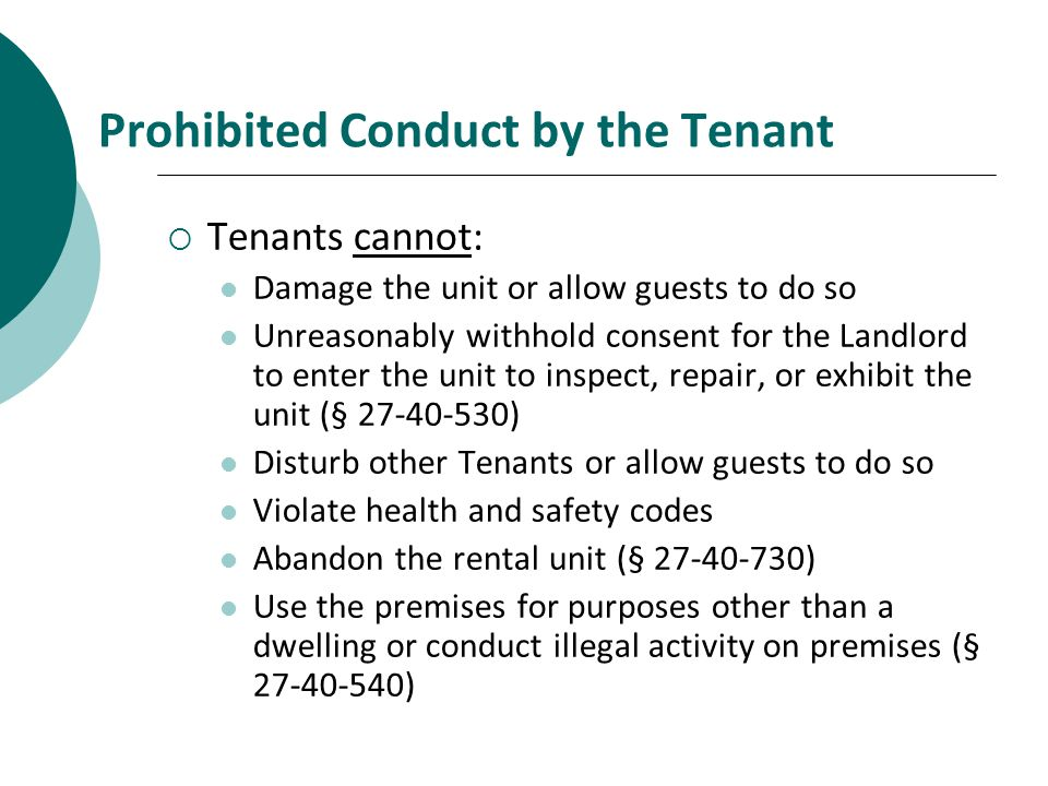 Prohibited Conduct by the Tenant