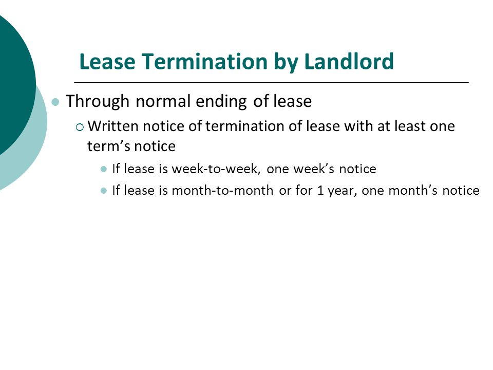 lease termination by landlord - Notice Of Lease Termination