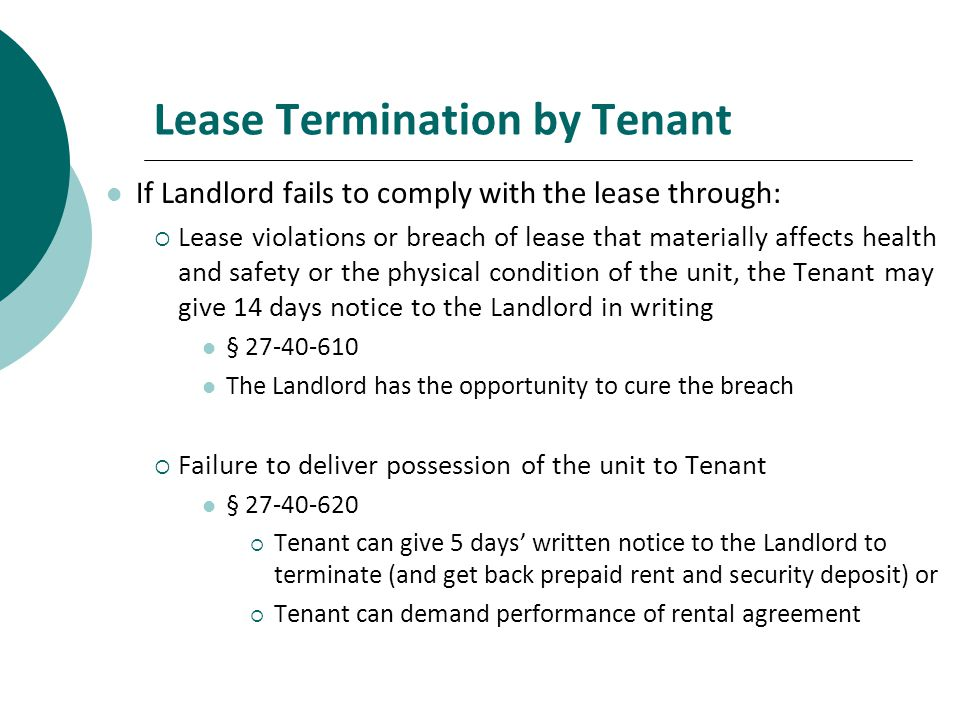 Lease Termination by Tenant