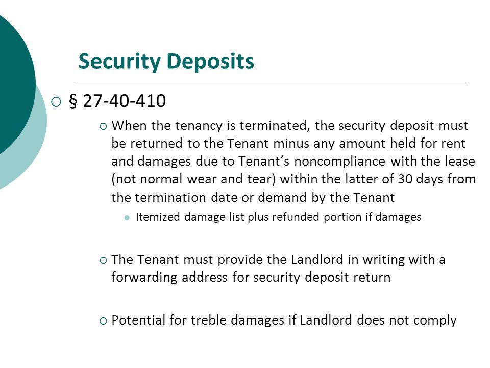 Security Deposits § 27-40-410.