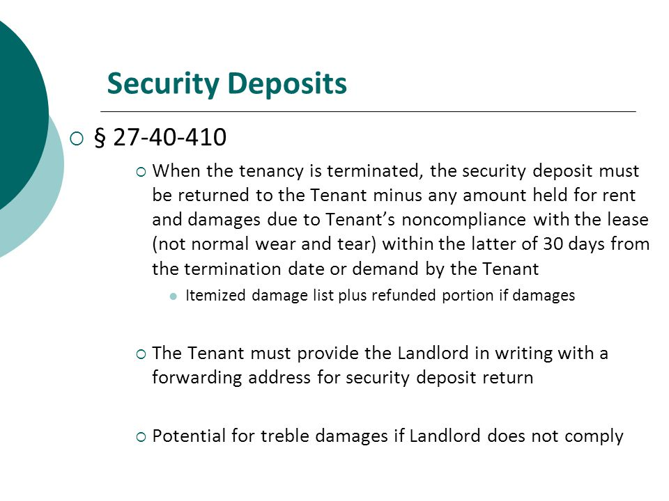 Security Deposits §