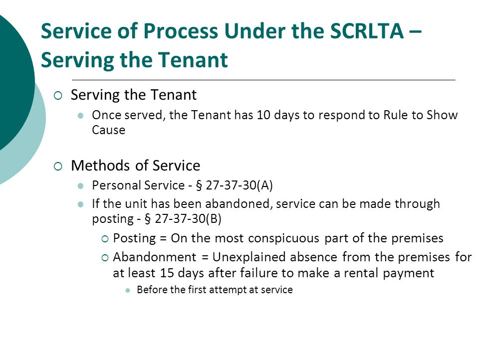 Service of Process Under the SCRLTA – Serving the Tenant
