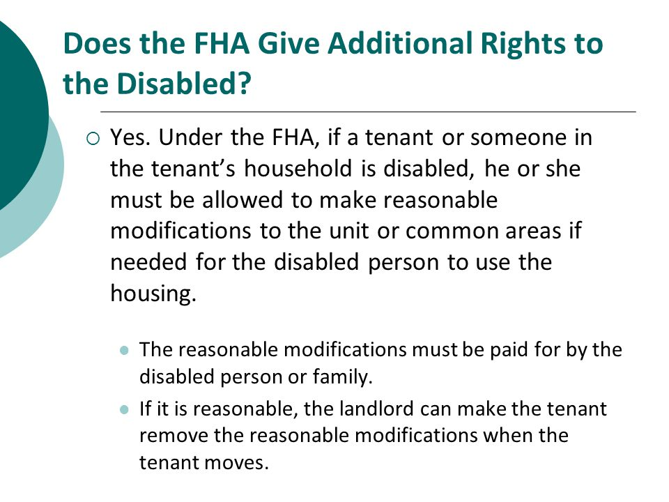 Does the FHA Give Additional Rights to the Disabled