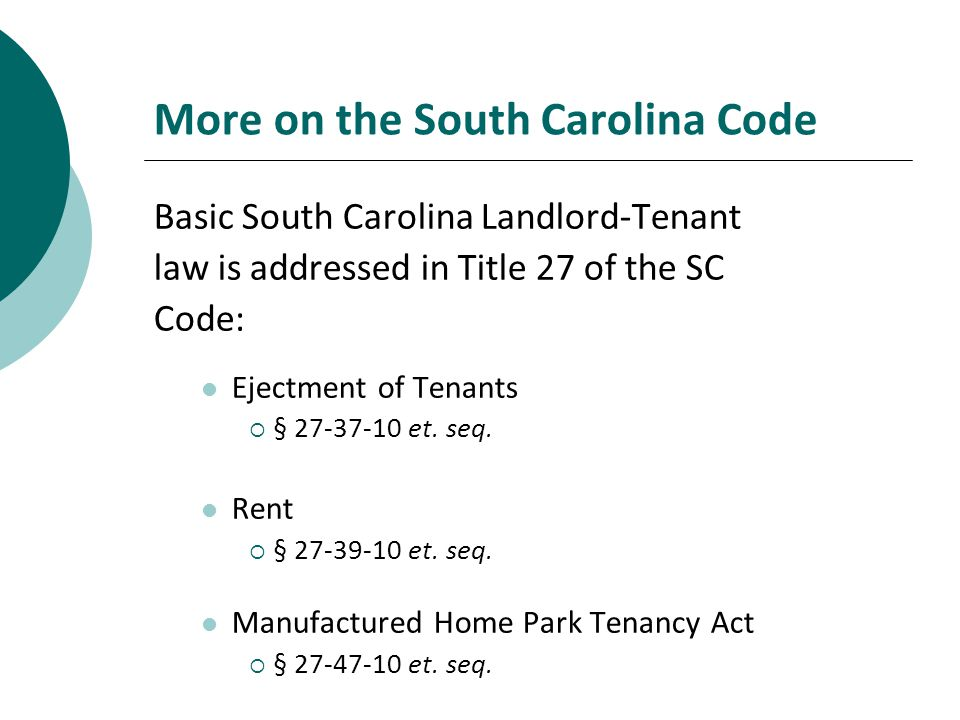 Manufactured Home Park Tenancy Act Et Seq More On The South Carolina Code