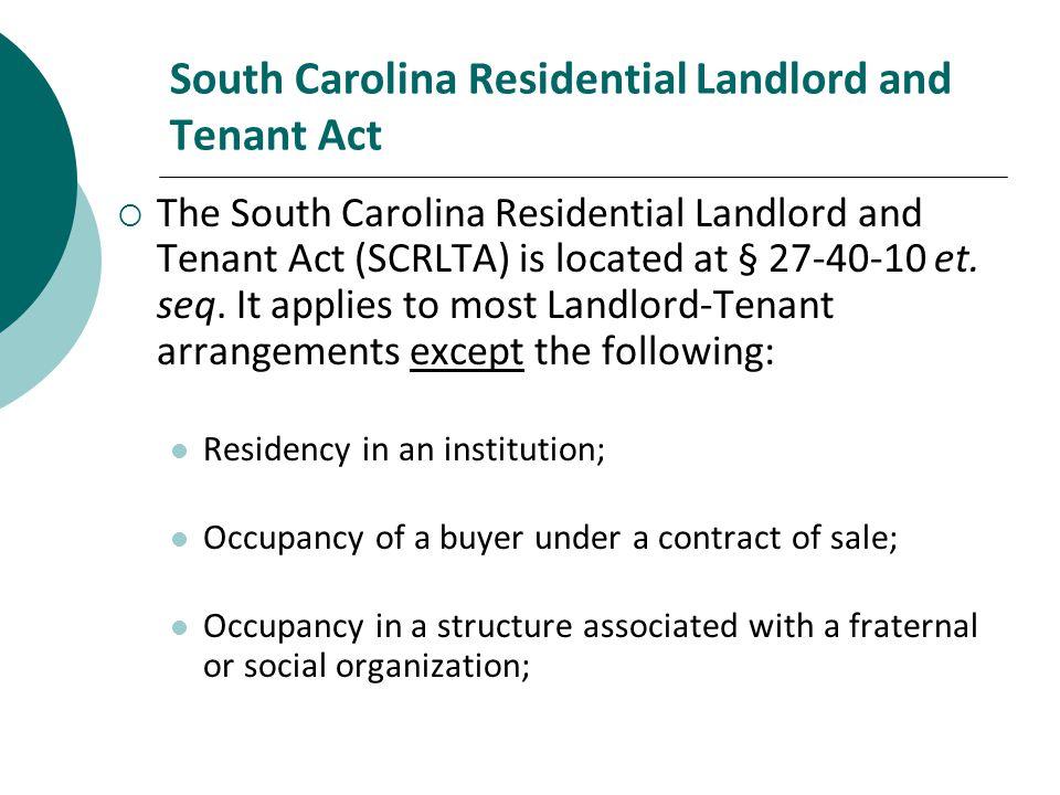 South Carolina Residential Landlord and Tenant Act