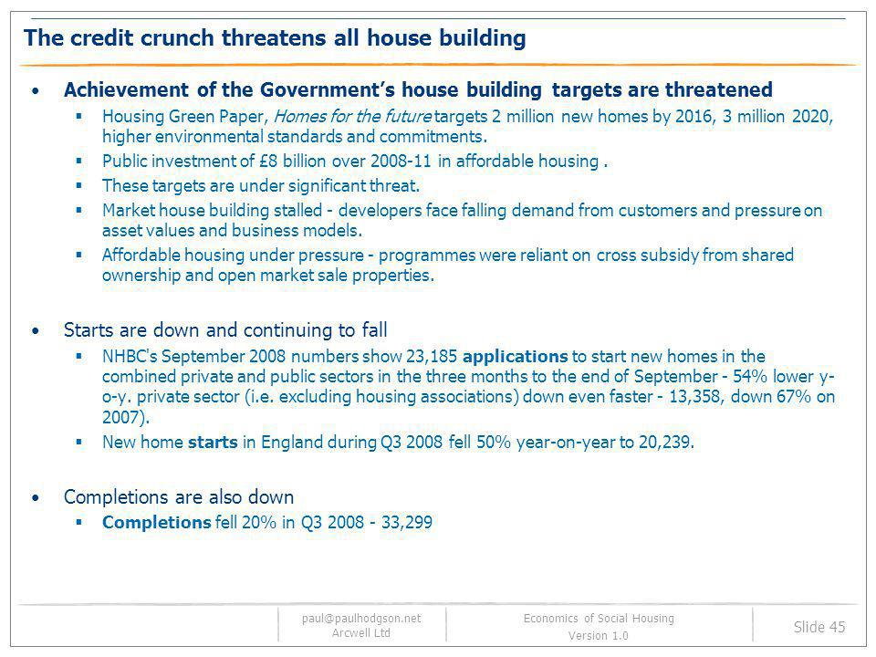 The credit crunch threatens all house building