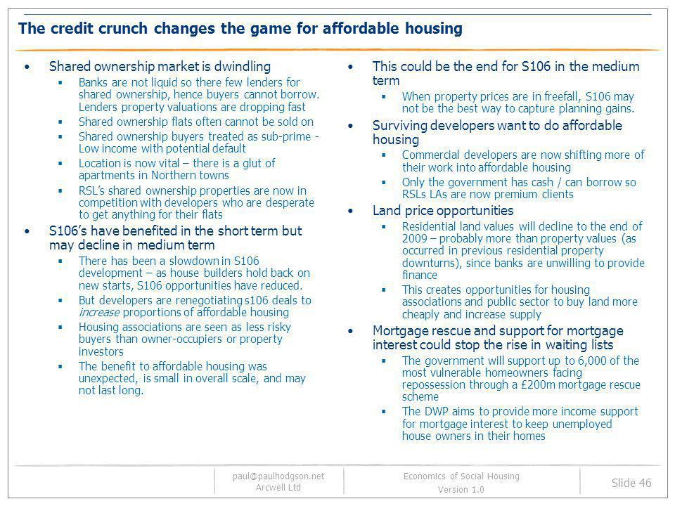 The credit crunch changes the game for affordable housing