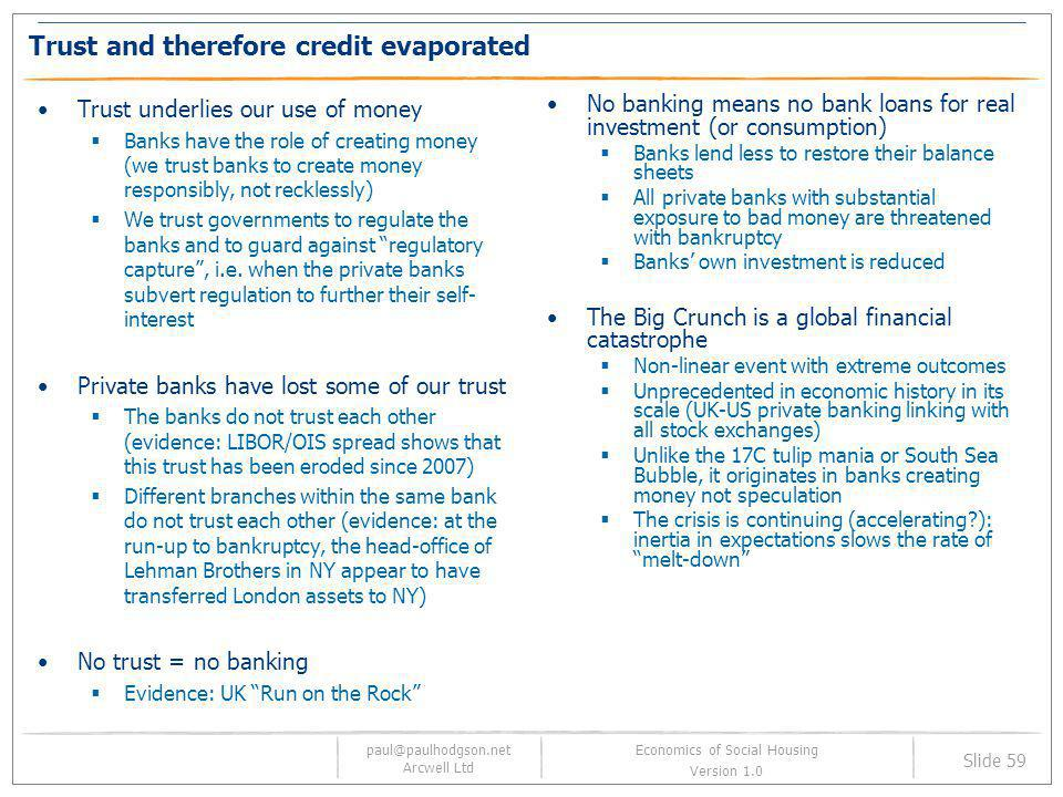 Trust and therefore credit evaporated