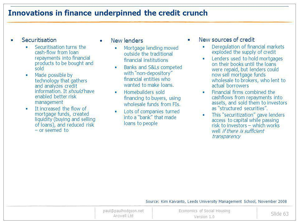 Innovations in finance underpinned the credit crunch