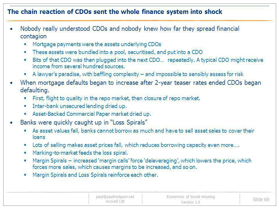 The chain reaction of CDOs sent the whole finance system into shock