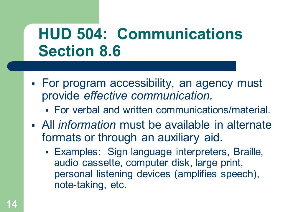 HUD 504: Communications Section 8.6