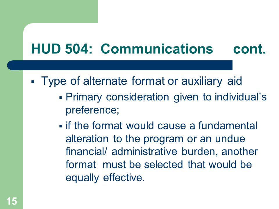 HUD 504: Communications cont.