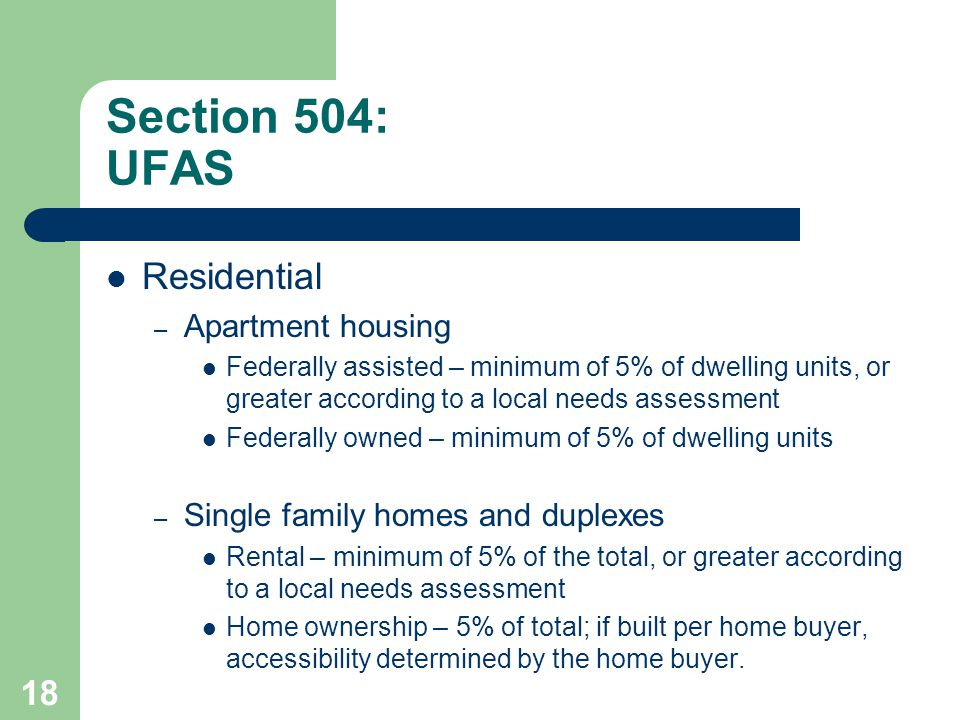 Section 504: UFAS Residential Apartment housing