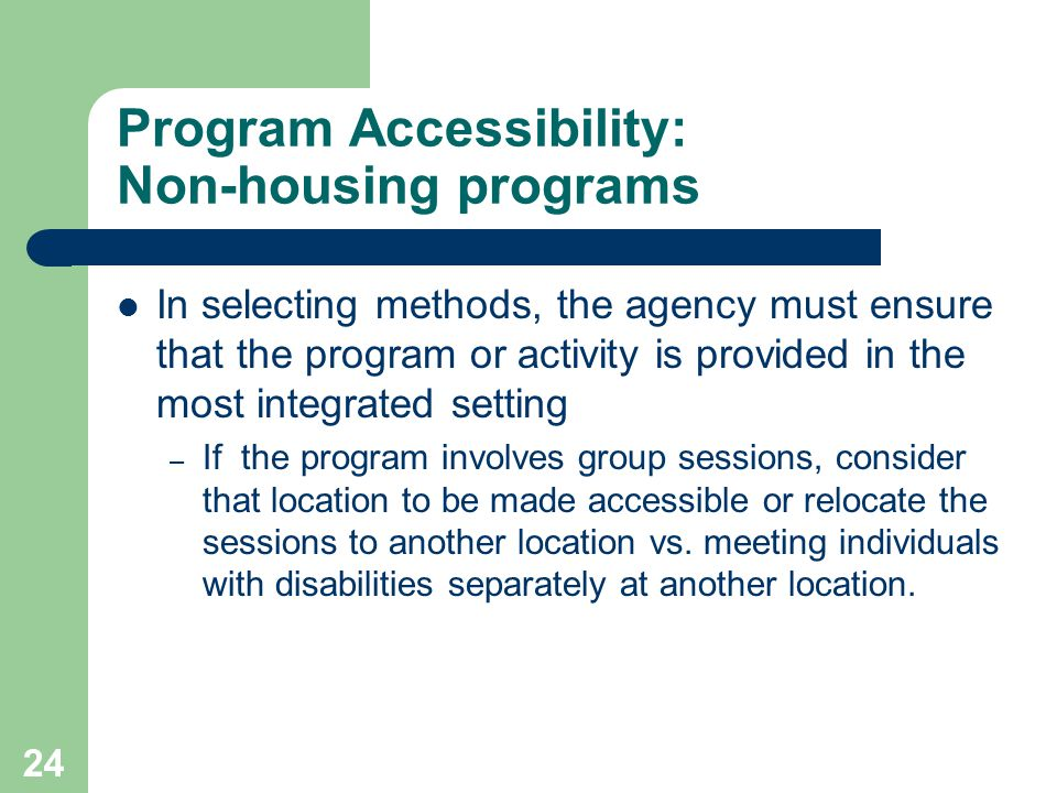 Program Accessibility: Non-housing programs