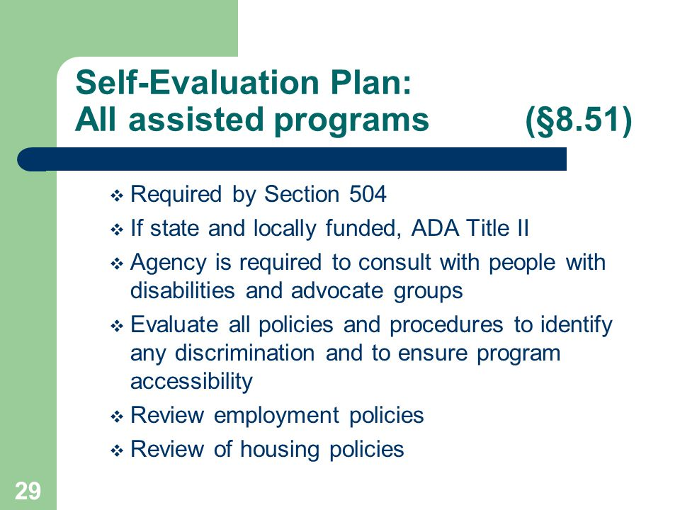 Self-Evaluation Plan: All assisted programs (§8.51)