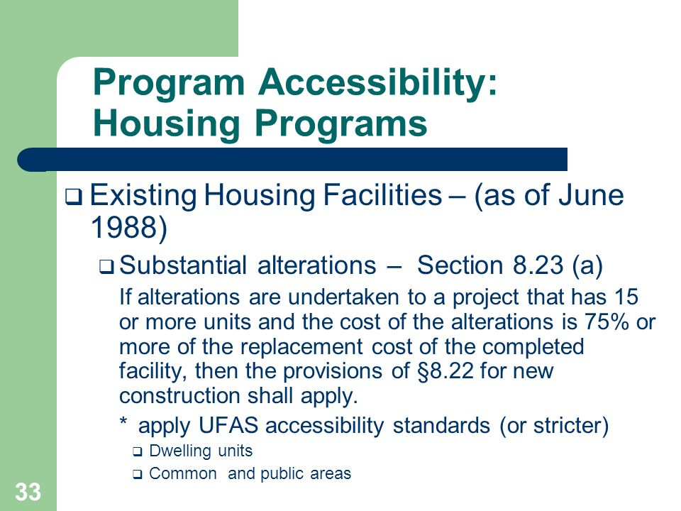 Program Accessibility: Housing Programs