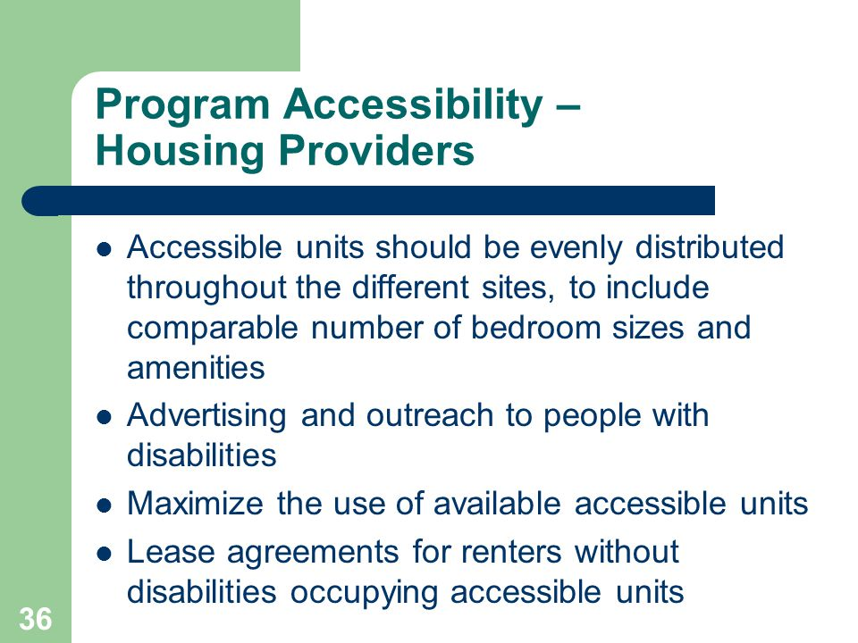 Program Accessibility – Housing Providers