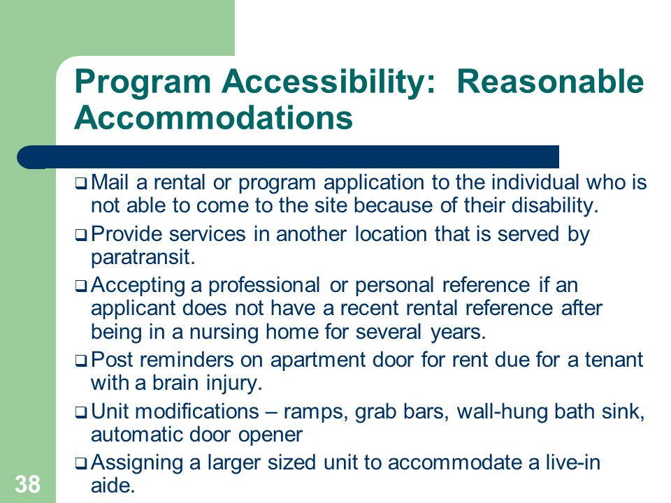 Program Accessibility: Reasonable Accommodations
