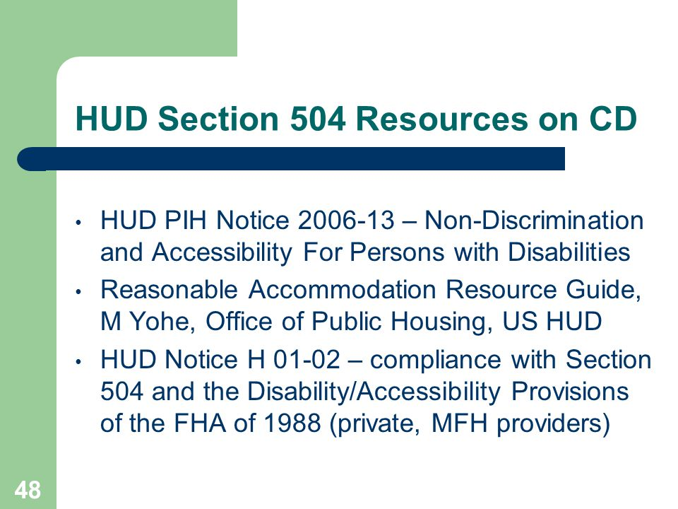 HUD Section 504 Resources on CD
