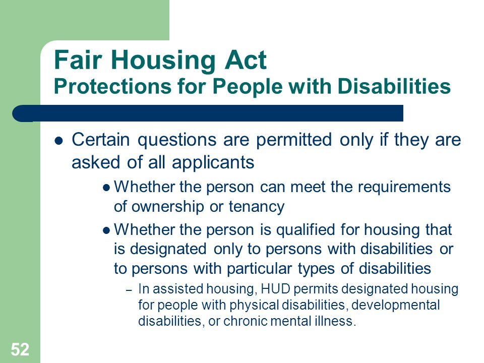 Fair Housing Act Protections for People with Disabilities
