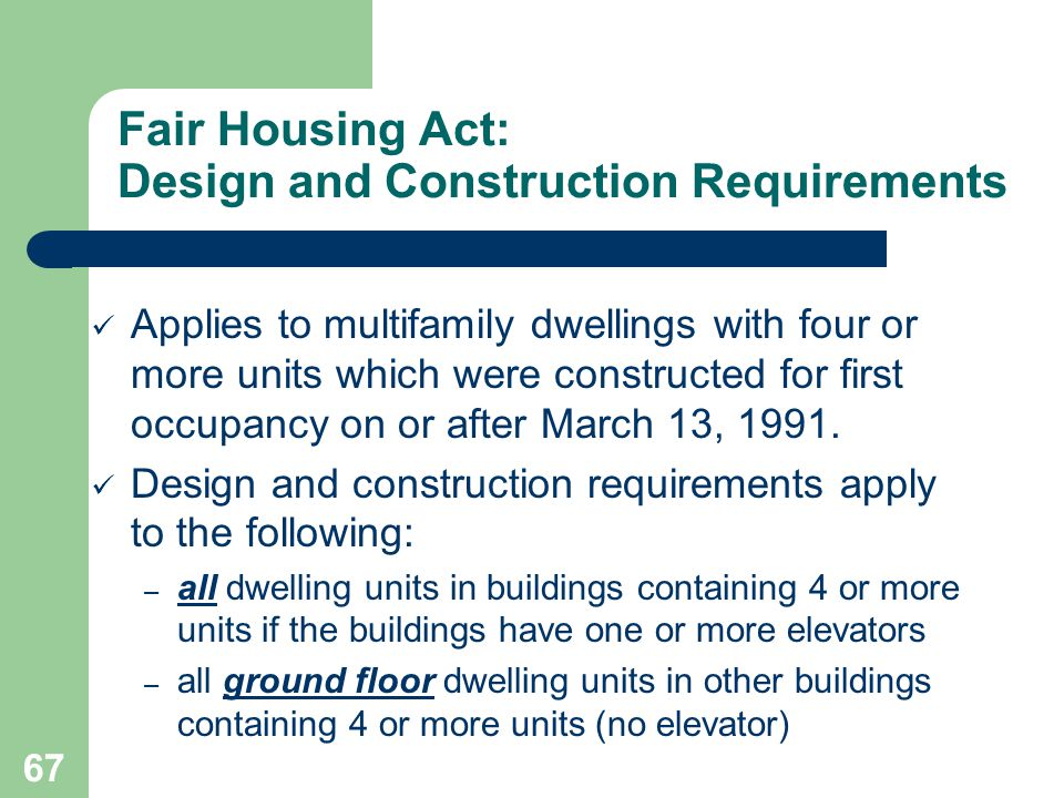 Fair Housing Act: Design and Construction Requirements