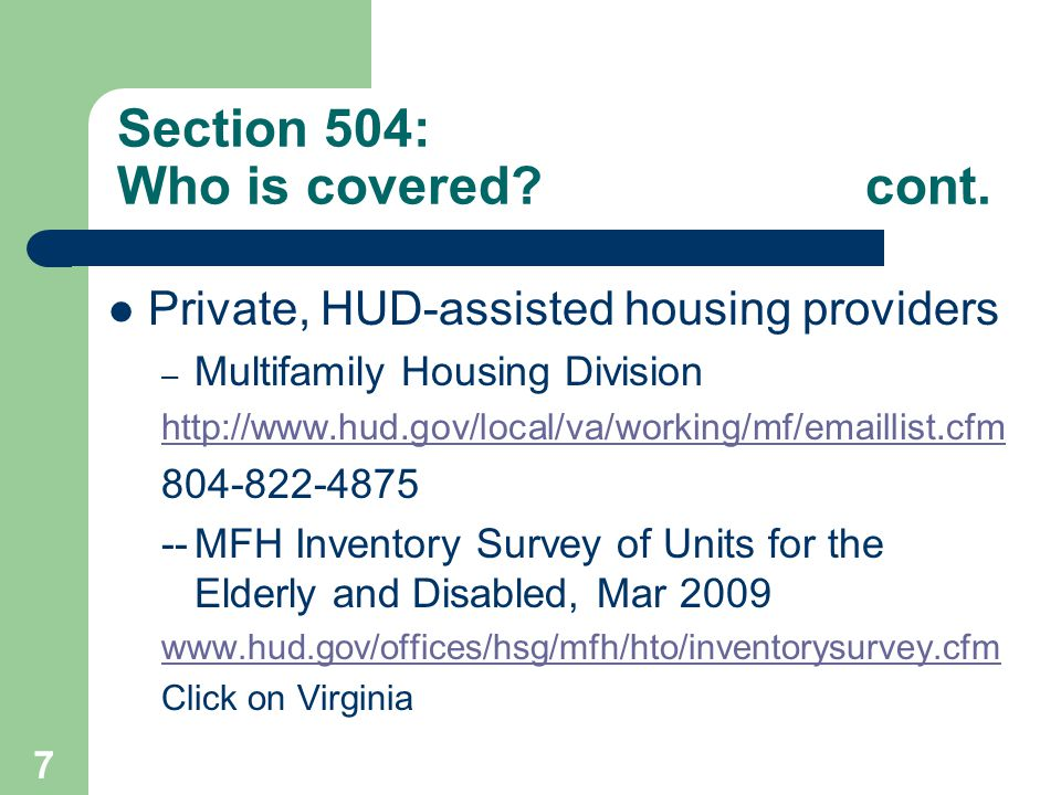 Section 504: Who is covered cont.