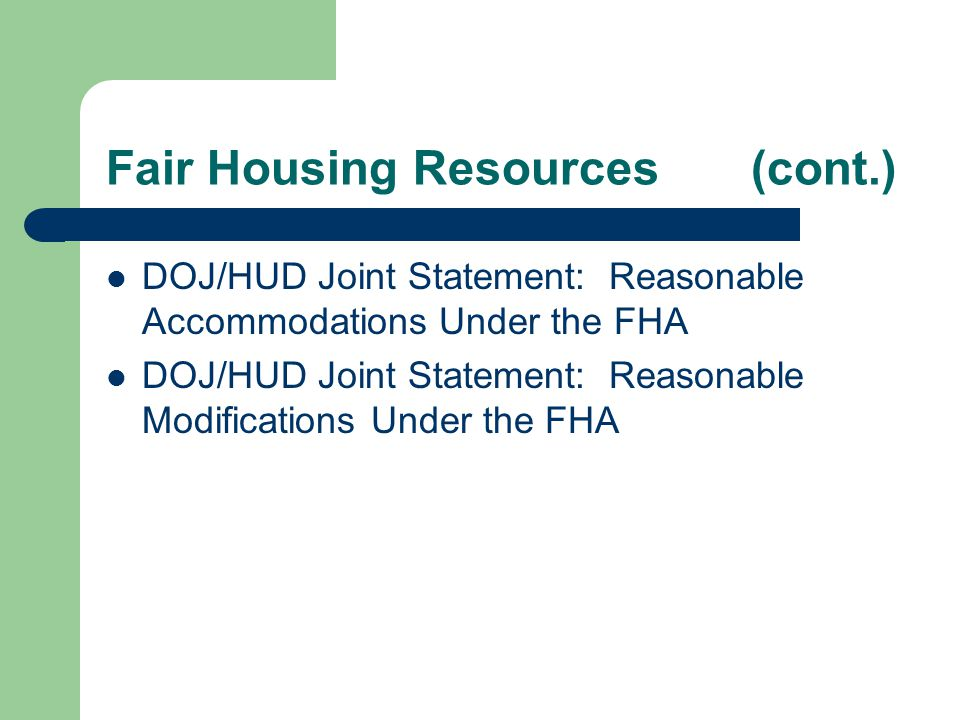 Fair Housing Resources (cont.)