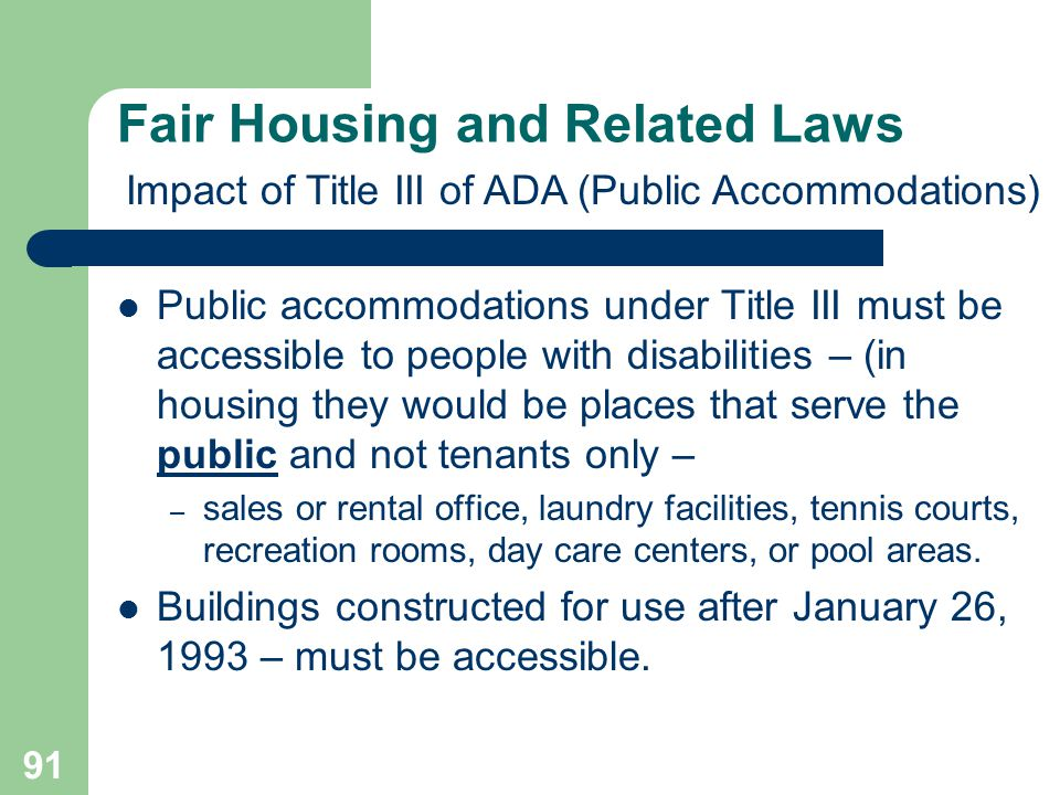 Fair Housing and Related Laws
