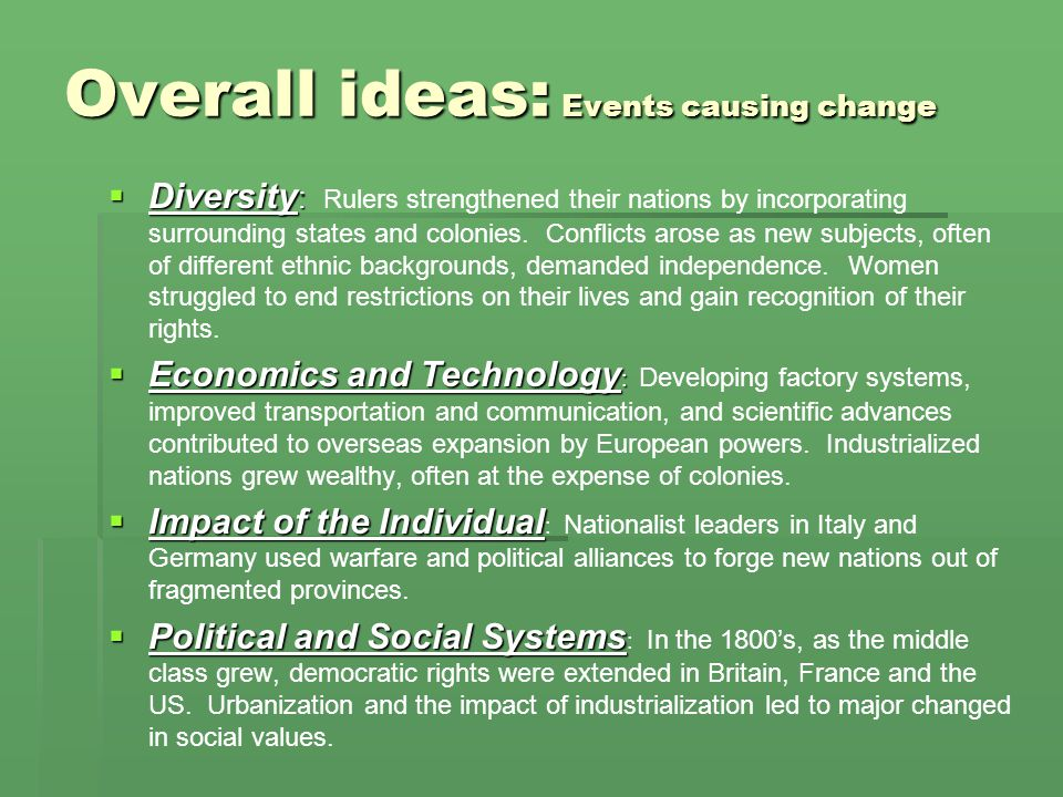 Overall ideas: Events causing change