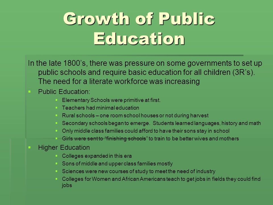 Growth of Public Education