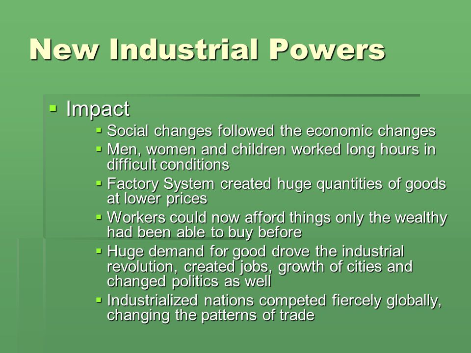 New Industrial Powers Impact