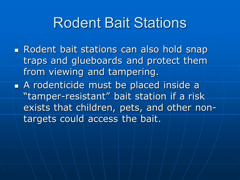 Rodent Bait Stations Rodent bait stations can also hold snap traps and glueboards and protect them from viewing and tampering.
