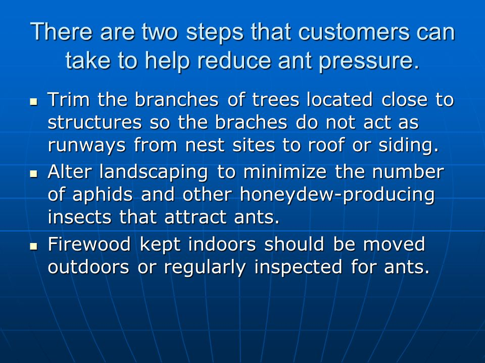 There are two steps that customers can take to help reduce ant pressure.
