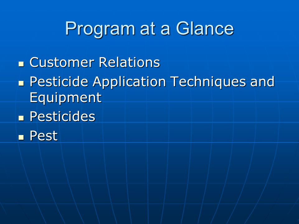 Program at a Glance Customer Relations