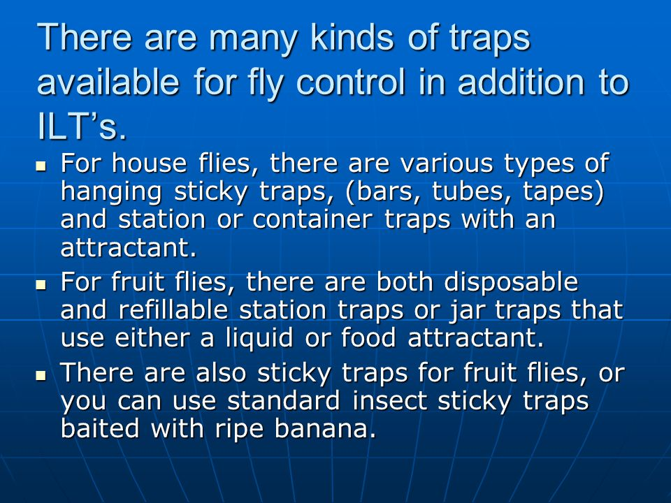 There are many kinds of traps available for fly control in addition to ILT's.