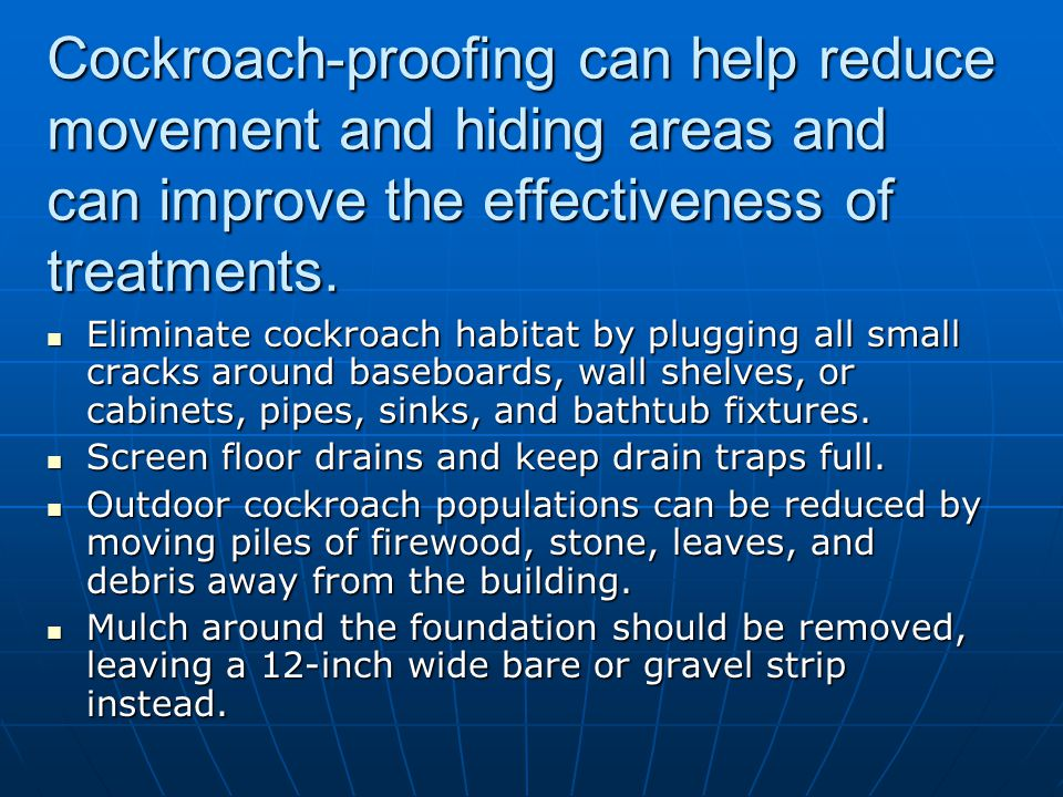 Cockroach-proofing can help reduce movement and hiding areas and can improve the effectiveness of treatments.