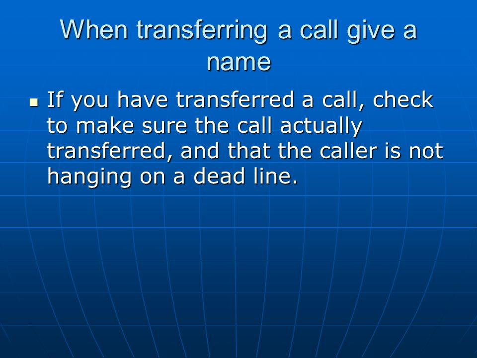 When transferring a call give a name