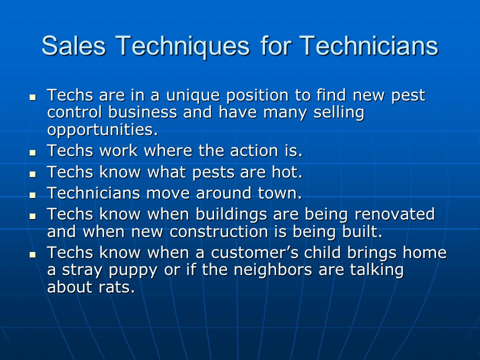 Sales Techniques for Technicians