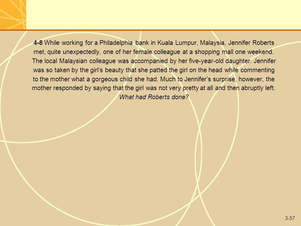 4-8 While working for a Philadelphia bank in Kuala Lumpur, Malaysia, Jennifer Roberts