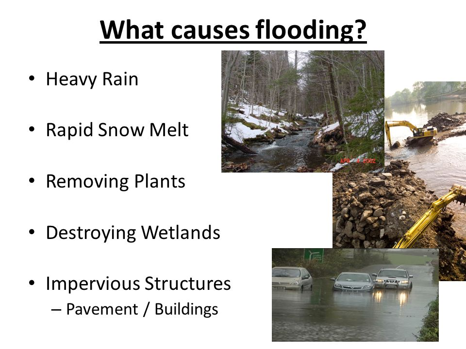 What causes flooding Heavy Rain Rapid Snow Melt Removing Plants