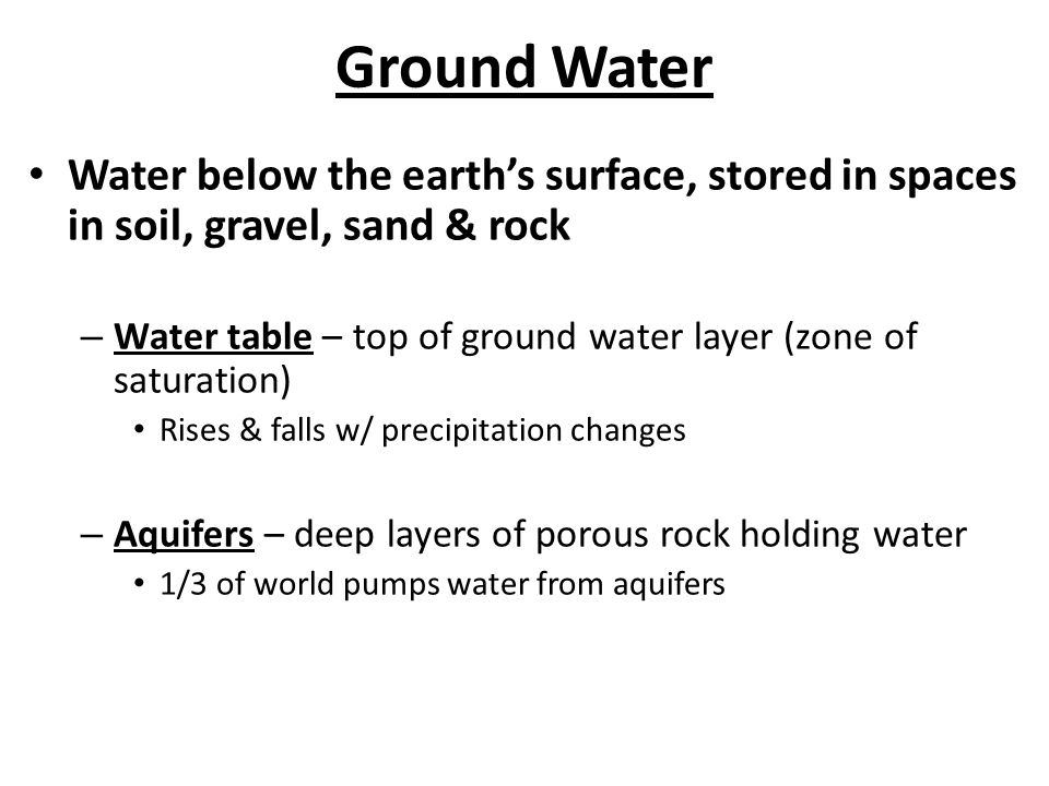 Ground Water Water below the earth's surface, stored in spaces in soil, gravel, sand & rock.