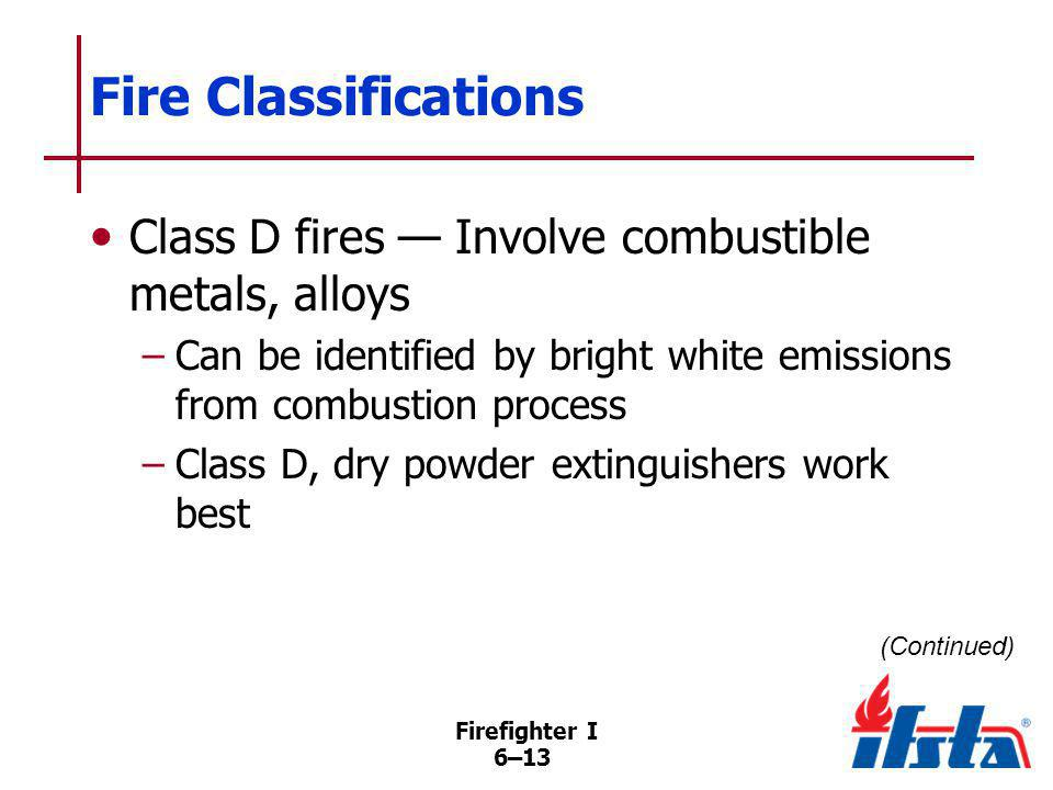 DISCUSSION QUESTION Why should water-based agents not be used on Class D fires Firefighter I