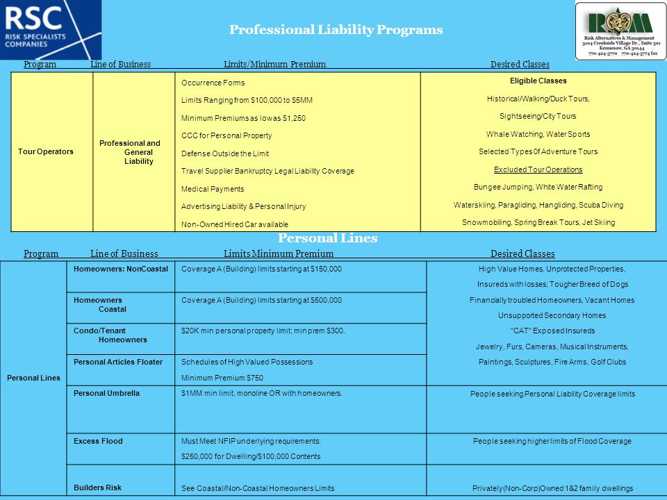 Professional Liability Programs