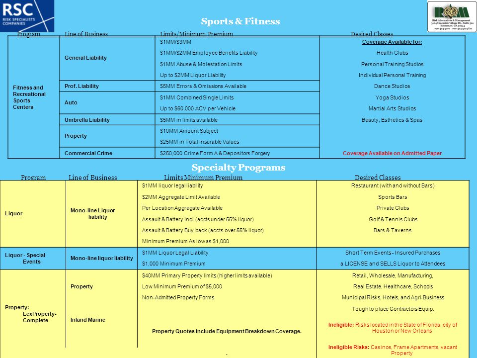 Sports & Fitness Specialty Programs